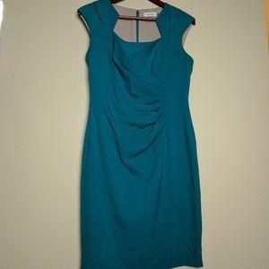 Calvin Klein blue teal office midi dress 8